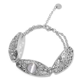 Simulated White Cats Eye Bracelet (Size 7.5 with 1 inch Extender) in Stainless Steel