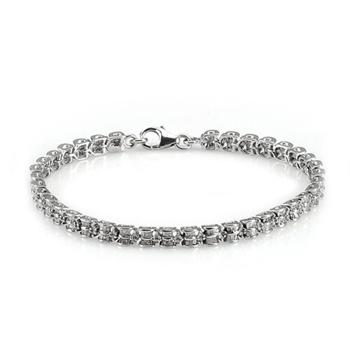 Diamond Platinum Overlay Sterling Silver Bracelet (Size 7.5) 1.60 Ct.