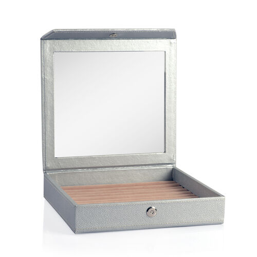 Hand Crafted - Eco Faux Leather Silver Colour 100 Slot Ring Box with Magnetic Closure (Size 24x22 Cm)