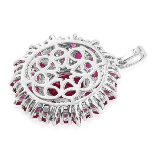 African Ruby (Ovl 3.40 Ct) Flower Pendant in Platinum Overlay Sterling Silver 9.750 Ct.