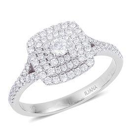 ILIANA 18K White Gold IGI Certified Diamond (Rnd) (SI/G-H) Engagement Ring 0.750 Ct.