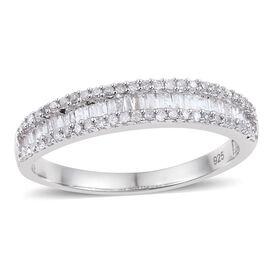 Diamond (Bgt) Ring in Platinum Overlay Sterling Silver 0.500 Ct.