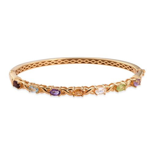 White Topaz (Ovl), Mozambique Garnet, Sky Blue Topaz, Amethyst, Hebei Peridot, Rose De France Amethyst and Citrine Bangle (Size 7.5) in ION Plated 18K Yellow Gold Bond 3.000 Ct.
