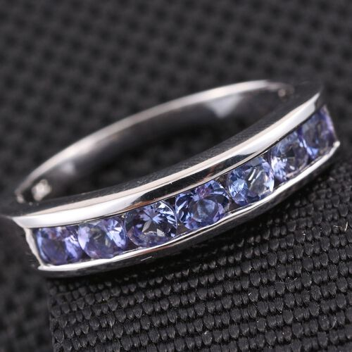 Tanzanite (Rnd) 7 Stone Ring in Platinum Overlay Sterling Silver 1.000 Ct.