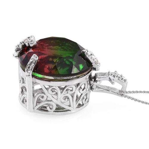 Bi-Color Tourmaline Quartz (Rnd), Diamond Pendant With Chain in Platinum Overlay Sterling Silver 12.020 Ct.