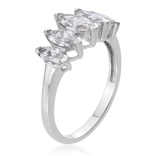 J Francis - Platinum Overlay Sterling Silver (Mrq) 5 Stone Ring Made with SWAROVSKI ZIRCONIA
