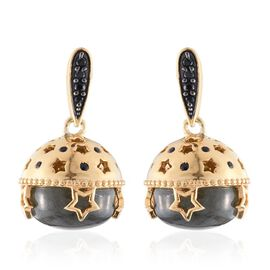 GP Labradorite (Rnd), Boi Ploi Black Spinel and Kanchanaburi Blue Sapphire Acorn Nut Earrings (with Push Back) in 14K Gold Overlay Sterling Silver 16.000 Ct.