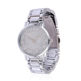 STRADA Japanese Movement Stardust Dial Water Resistant Watch in Silver Tone with Stainless Steel Back