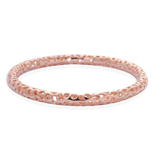 RACHEL GALLEY Rose Gold Overlay Sterling Silver Allegro Bangle (Size 7.5), Silver wt 16.83 Gms.