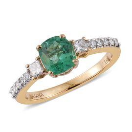 ILIANA 18K Yellow Gold 1.44 Carat AAAA Boyaca Colombian Emerald Ring with Diamond SI G-H