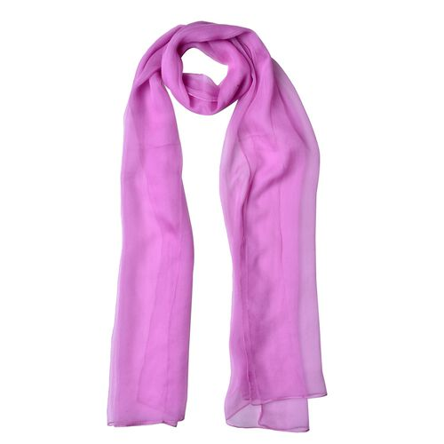 100% Mulberry Silk Purple Orchid Colour Scarf (Size 170X60 Cm)