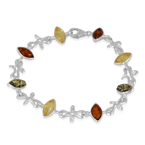 Baltic Multi Colour Amber (Mrq) Bracelet (Size 7.5) in Sterling Silver