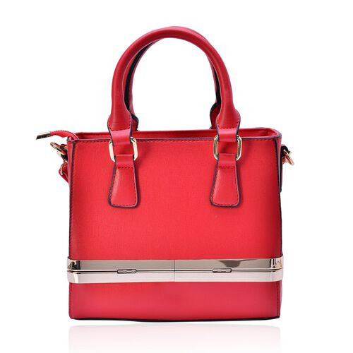Red Colour Tote Bag with Bottom Box Compartment and Adjustable and Removable Shoulder Strap (Size 22x18x9 Cm)