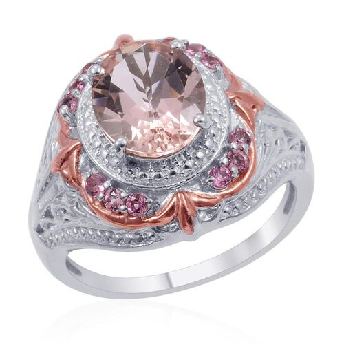 Designer Collection Marropino Morganite (Ovl 3.25 Ct), Pink Tourmaline Ring in 14K RG and Platinum Overlay Sterling Silver 3.580 Ct.