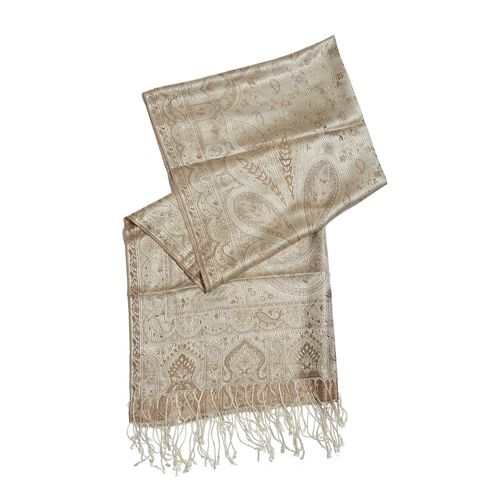 SILK MARK - 100% Superfine Silk Chocolate, Gold and Multi Colour Jacquard Jamawar Scarf with Fringes at the Bottom (Size 180x70 Cm) (Weight 125- 140 Gms)