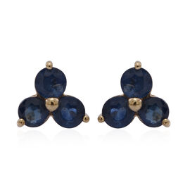 9K Y Gold Kanchanaburi Blue Sapphire (Rnd) Stud Earrings (with Push Back) 1.750 Ct.