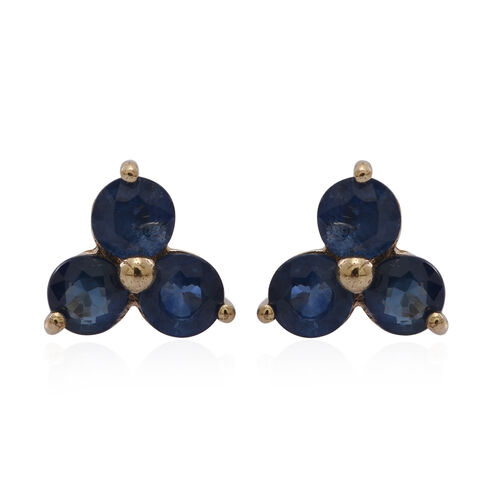 9K Y Gold Kanchanaburi Blue Sapphire (Rnd) Stud Earrings (with Push Back) 1.750 Ct.