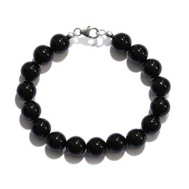 Rare Size Black Agate Bracelet (Size 7.5) in Platinum Overlay Sterling Silver 93.730 Ct.
