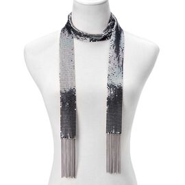 Scarf Style Necklace or Belt (Size 58 inch) in Black Tone