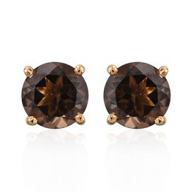 Smoky Quartz Round 2.50 Carat Solitaire Silver Stud Earrings in Gold Overlay.