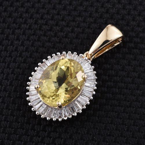 9K Y Gold Rare Natural Canary Apatite (Ovl 3.00 Ct), Diamond Pendant 3.500 Ct.