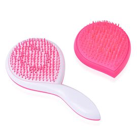 Set of 2 - Pink and Black Colour Ergonomic Styler and Detangler Comb
