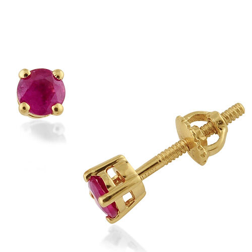 ILIANA Burmese Ruby (0.84 Ct) 18K Y Gold Earring  0.835  Ct.