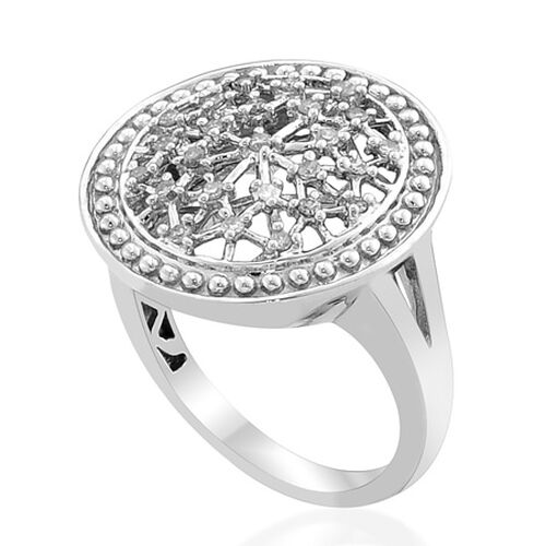 Diamond Platinum Overlay Sterling Silver Ring  0.250 Ct.