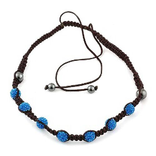 Dark Blue Austrian Crystal, Hematite Necklace (Adjustable)