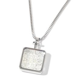 Simulated Diamond Pendant With Chain in Silver Tone
