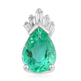 ILIANA 18K W Gold Boyaca Colombian Emerald (Pear 1.08 Ct), Diamond Pendant 1.141 Ct.