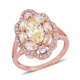 ELANZA AAA Simulated Citrine and Simulated White Diamond Ring in Rose Gold Overlay Sterling Silver