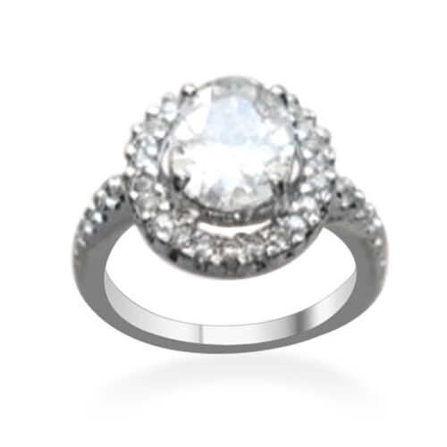 AAA Simulated Diamond (Ovl 4.00 Ct) Ring in Rhodium Plated Sterling Silver 5.500 Ct.