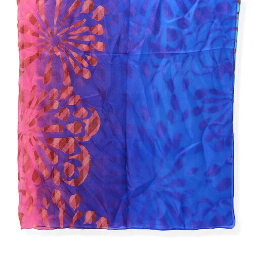 100% Mulberry Silk Blue, Pink Green and Multi Colour Pareo (Size 170x110 Cm)