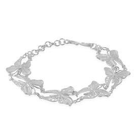 Hand Made Designer Inspired Butterfly Link Sterling Silver Bracelet (Size 7 with 1 inch Extender), Silver wt 8.00 Gms.