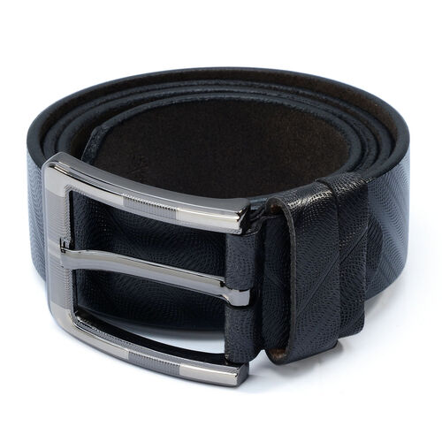 Genuine Leather Black Colour Mens Belt with Silver Tone Buckle (Size 46 inch)