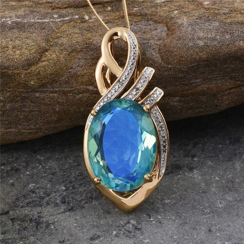 Peacock Quartz (Ovl 15.00 Ct), Diamond Pendant With Chain in 14K Gold Overlay Sterling Silver 15.020 Ct.