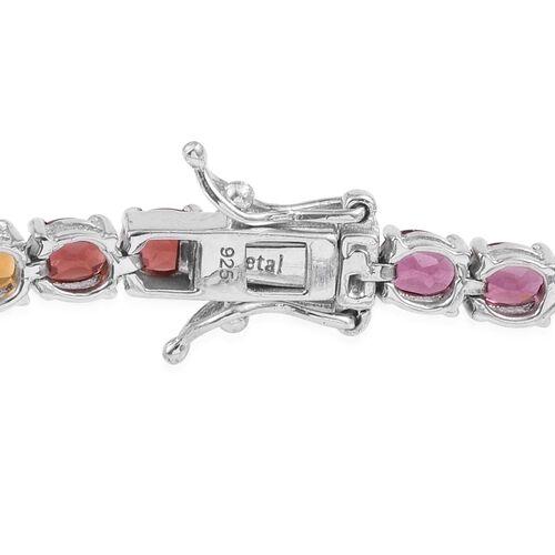 Amethyst (Ovl), Citrine, Rhodolite Garnet, Mozambique Garnet, Hebei Peridot, Tanzanite, Paraibe Apatite and Iolite Bracelet (Size 7.5) in Platinum Overlay Sterling Silver 13.250 Ct.