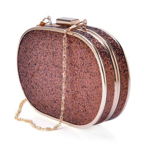 Chocolate Colour Stardust Clutch Bag in Gold Tone with Removable Chain Strap (Size 15x10x3.5 Cm)