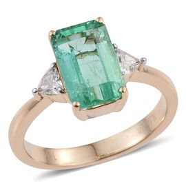 ILIANA 18K Y Gold Boyaca Colombian Emerald (Oct 2.90 Ct), Diamond Ring 3.150 Ct.