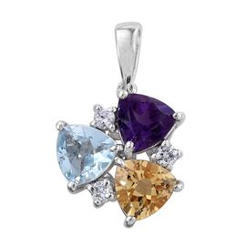 Sky Blue Topaz (Trl 1.30 Ct), Citrine, Amethyst and Natural Cambodian Zircon Pendant in Platinum Overlay Sterling Silver 3.750 Ct.