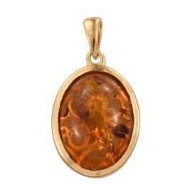 Limited Edition AAA Very Rare Size Amber (Ovl 20X15) (Ovl) Solitaire Pendant in 14K Gold Overlay Sterling Silver 6.500 Ct.
