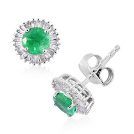 9K White Gold 1 Carat Boyaca Colombian Emerald Halo Stud Earrings (with Push Back) with Diamond I3/G-H