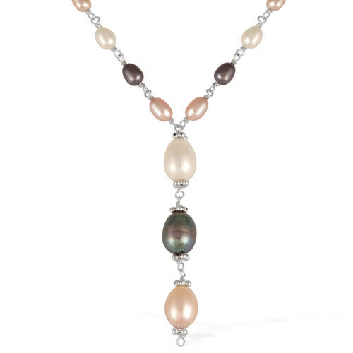 Past, Present and Future Pearl Necklace in Silver Tone.