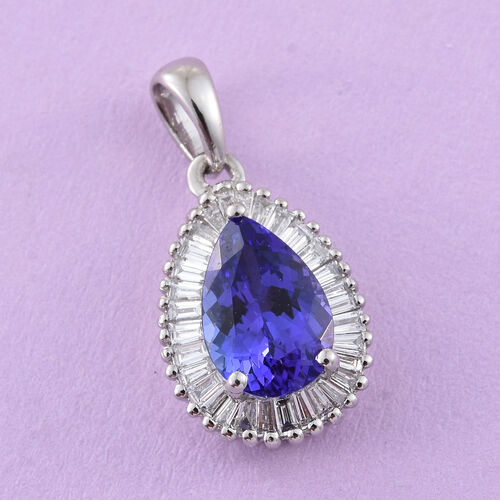 RHAPSODY 950 Platinum AAAA Tanzanite (Pear 1.15 Ct), Diamond (VS/E-F) Pendant 1.480 Ct.