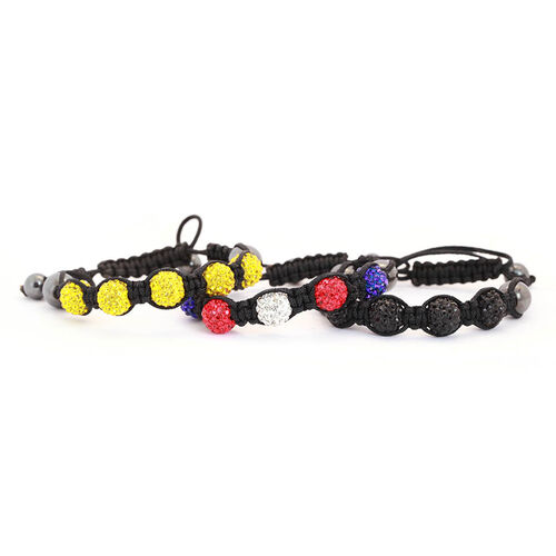 Set of 3 - Hematite and Multi Colour Austrian Crystal Bracelet (Adjustable)