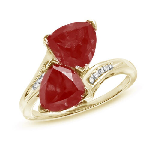 African Ruby (Trl), White Topaz Crossover Ring in 14K Gold Overlay Sterling Silver 5.100 Ct.
