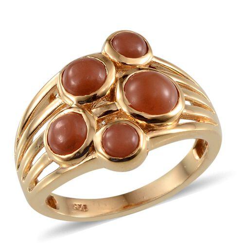 Mitiyagoda Peach Moonstone (Rnd 1.00 Ct) 5 Stone Ring in Yellow Gold Overlay Sterling Silver 2.750 Ct.