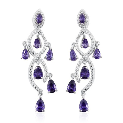 AAA Simulated Tanzanite (Pear) Earrings (with Push Back) in ION Plated Platinum Bond