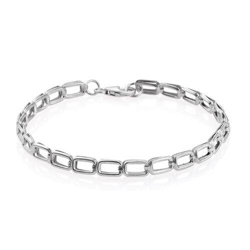 Platinum Overlay Sterling Silver Link Bracelet (Size 7.5), Silver wt 3.51 Gms.